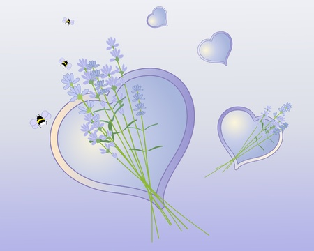 an illustration of lavender flowers with purple and yellow hearts Vector