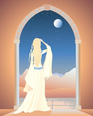 een illustratie van een decoratieve gewelfde deur met een vrouw in een lange witte jurk met uitzicht op een maanverlichte berglandschap Vector Illustratie