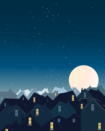 an illustration of rooftops with lighted windows under a dark starry sky and a big harvest moon Ilustrace