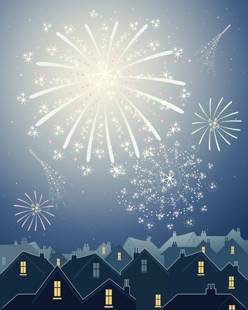 an illustration of beautiful fireworks in a night time starry sky over the rooftops of a city skyline