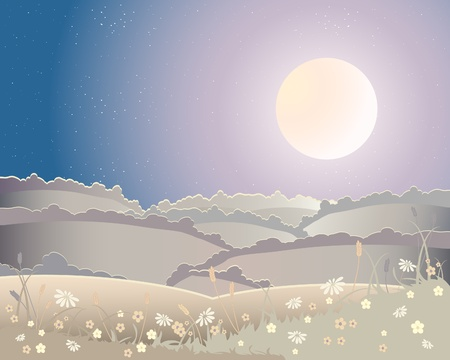 hedgerows: an illustration of a harvest moon landscape with rolling hills and flowers under a starry sky