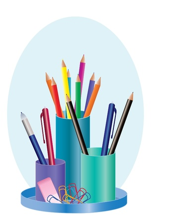 desk tidy: an illustration of a colorful pen holder with pencils biall point pens eraser and paper clips