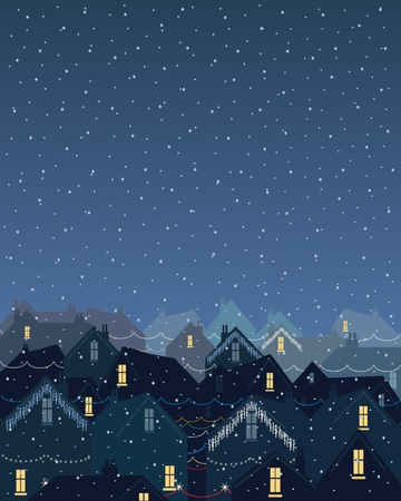 an illustration of rooftops in the city in winter with christmas lights on a still snowy evening