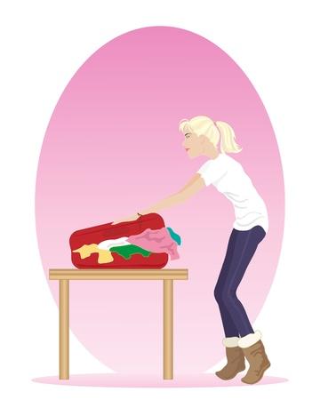 packing suitcase: l'illustrazione di una donna di imballaggio una valigia gi� piena