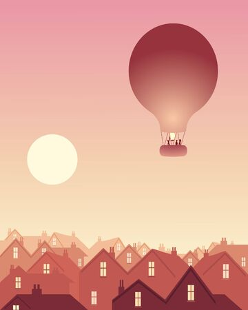 populated: an illustration of a hot air balloon drifting over a city skyline at sunrise