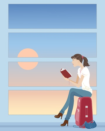 sat: an illustration of a woman sat on a suitcase reading a book waiting at an airport Illustration