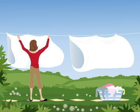 an illustration of a woman hanging white sheets on a laundry line in a beautiful garden under a blue sky