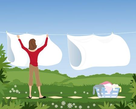 laundry line: una ilustraci�n de una mujer colgando s�banas blancas en una l�nea de ropa en un hermoso jard�n bajo un cielo azul