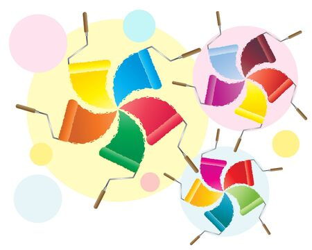 rollers: an illustration of colorful paint rollers in spral design Illustration
