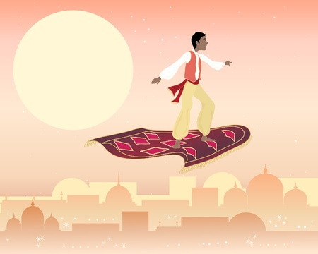 an illustration of a boy on a magic carpet flying above a far eastern skyline under a starry sky Ilustrace