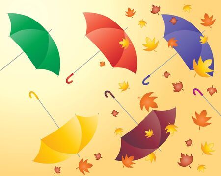 an illustration of colorful umbrellas with autumn leaves on an orange background Vector
