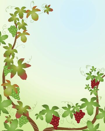 an illustration of grape vines with bright leaves and red and green fruit on a blue and yellow background Vector