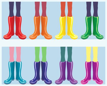 wellingtons: an illustration of a row of shiny boots in rainbow colors on a blue background