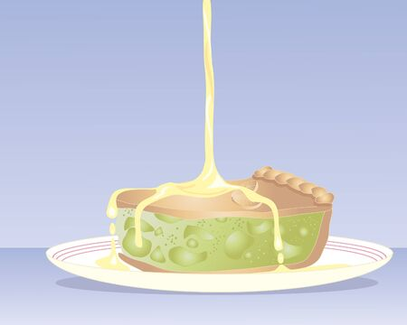 custard: an illustration of a delicious piece of apple pie on a plate with custard pouring on a blue background