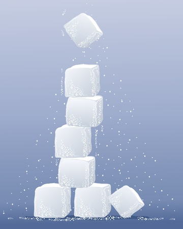 sugar cube: an illustration of a sugar cube tower with granules on a lavender background