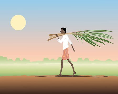 an illustration of an indian man carrying sugar cane with paddy field and sunset in the background Ilustrace
