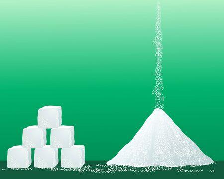 붓는 것: 녹색 배경에 설탕 큐브의 스택과 함께 설탕 알갱이의 더미의 그림