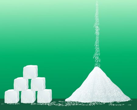 sugar: an illustration of a pile of sugar granules with a stack of sugar cubes on a green background
