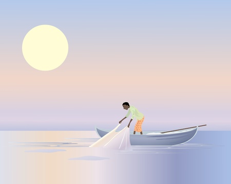 work boat: an illustration of an asian fisherman in a small boat pulling in a net at dawn under a colored sky with a big yellow sun Illustration