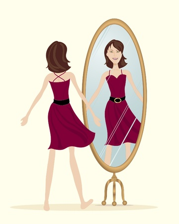 reflection in mirror: an illustration of a young brunette woman looking in the mirror wearing a new red dress on a cream color background Illustration