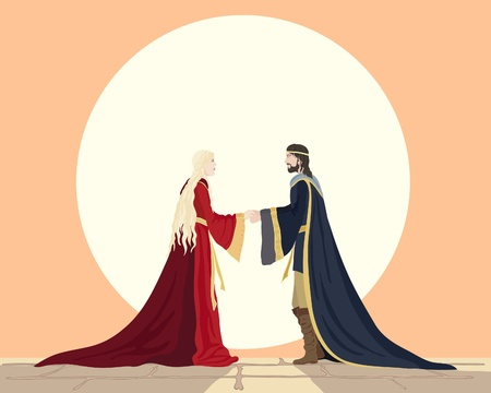 an illustration of a medieval man and woman holding hands in front of a big white sun