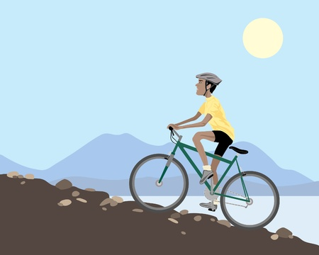uphill: an illustration of a mountain biker cycling uphill on a rocky slope with lake and hills under a blue summer sky