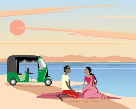 saree: an illustration of an asian couple sitting on a rug with a tuk tuk by a lake under a sunset sky