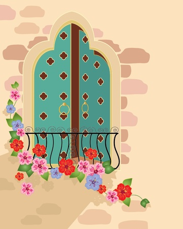 an illustration of a fancy asian style window with balcony and hibiscus flowers