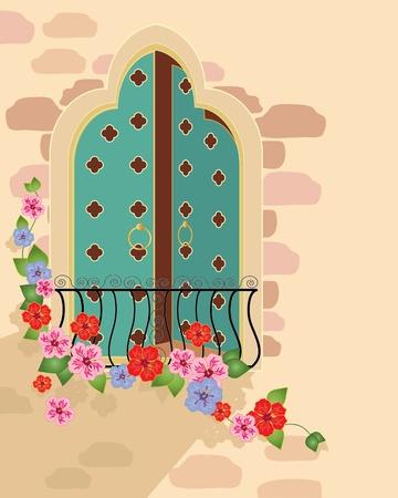balcony door: una ilustraci�n de una ventana de lujo estilo asi�tico con flores de balc�n y hibiscus