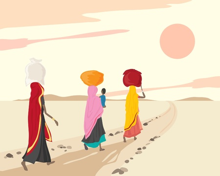 an illustration of three indian women and a child walking home with shopping bundles under a sunset sky