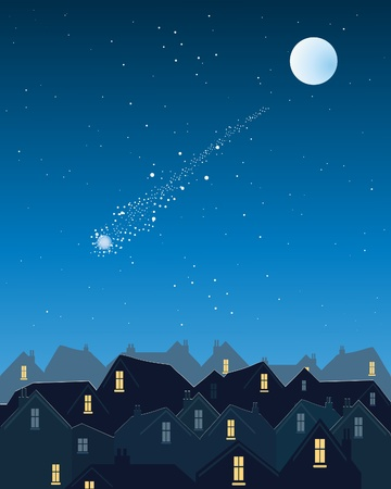 an illustration of a shooting star over a city skyline on a dark starry evening with silver moon