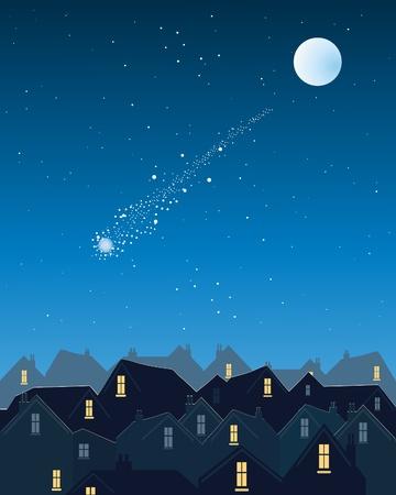 etoiles filante: une illustration d'une �toile filante sur un horizon de la ville sur un soir sombre �toil� avec la lune d'argent Illustration