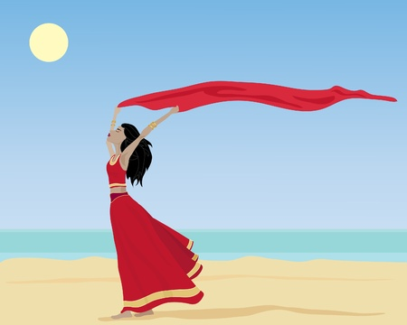 an illustration of an asian woman on a sunny beach with a red saree
