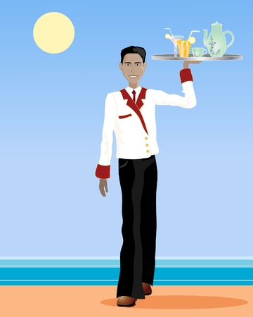 an illustration of an asian waiter walking with a tray of drinks in a uniform in an exotic setting Illustration