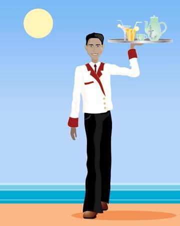 serveur avec plateau: une illustration d'un serveur asiatique marcher avec un plateau de boissons en uniforme dans un cadre exotique