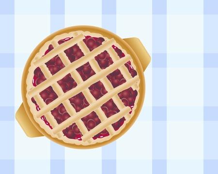 tarte aux cerises: une illustration d'une d�licieuse tarte cerise fra�chement cuit au four garnie de bandes de p�te sur une nappe � carreaux bleus