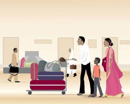 an illustration of an asian family at an airport with a trolley full of luggage walking past a baggage carousel
