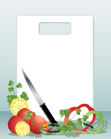 an illustration of a white chopping board with sharp knife corriander leaves tomatoes lemon slices peppercorns and peppers on a blue background Stock Vector - 10431037