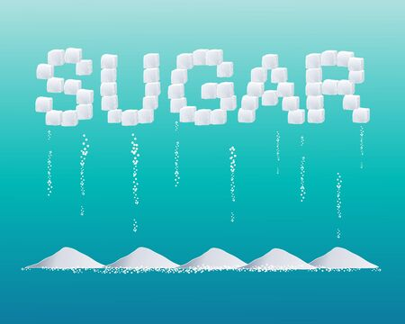 sugar cube: an illustration of sugar cubes forming the word sugar with grains and heaps on a blue green background