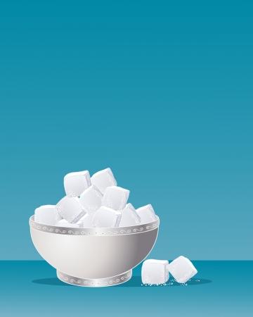 een illustratie van een fancy suikerpot in zilver metaal met krulwerk vol met suikerklontjes op een blauwe achtergrond