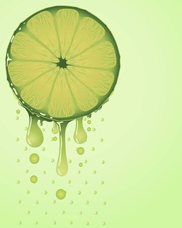 an illustration of a slice of lime with segments and juice droplets on a light green background