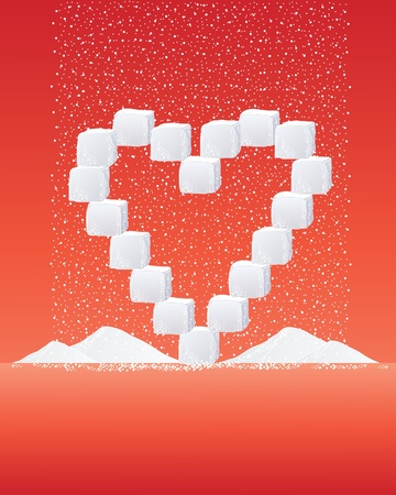 sprinkling: an illustration of a heart shape made up of sugar cubes and granules sprinkling in to heaps on a red background
