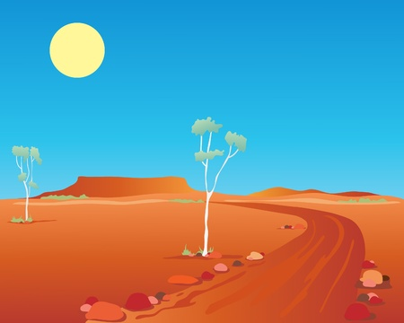 an illustration of an australian outback landscape with orange mountains rocks and gum trees under a hot blue summer sky