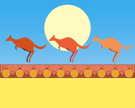 down under: an illustration of three kangaroos with blue sky and a yellow sun on an abstract aboriginal background
