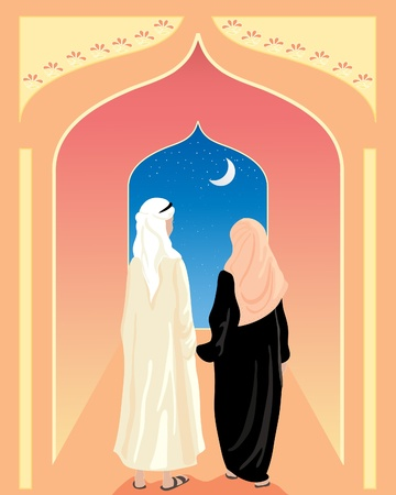 an illustration of an arabic couple walking toward an open doorway with stars and a crescent moon
