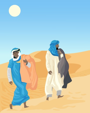 an illustration of two bedouins walking through sand dunes with blankets under a hot sun Ilustrace