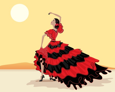 european culture: an illustration of a spanish flamenco dancer in a beautiful polka dot red and black dress under a hot spanish sky