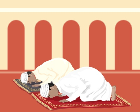 an illustration of two muslims praying on prayer mats in a mosque Vector