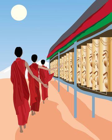 tibet: an illustration of tibetan monks spinning prayer wheels under a blue sky