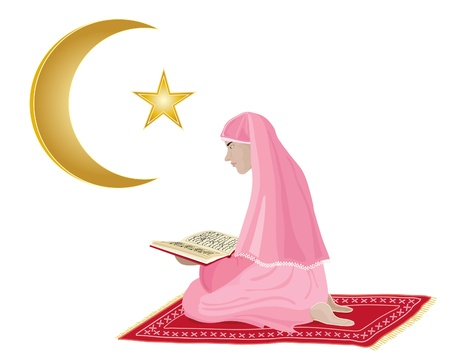 devout: an illustration of a young girl reading the koran dressed in pink kneeling on a red prayer mat on a white background
